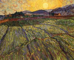 "Van Gogh's ""Wheat Field with Rising Sun."""